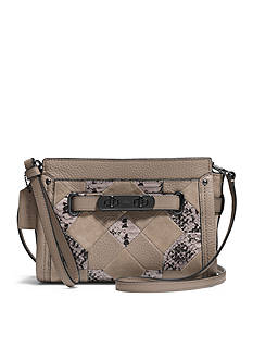 COACH Patchwork Exotic Embossed Leather Swagger Wristlet