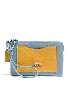 COACH COLORBLOCK LEATHER CORNER ZIP WRISTLET