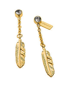 COACH PAVE METAL FEATHER DROP EARRINGS