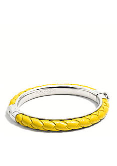COACH BRAIDED LEATHER HINGED BANGLE