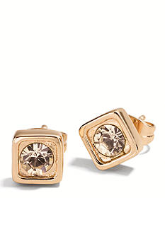 COACH PAVE SQUARE STUD EARRINGS