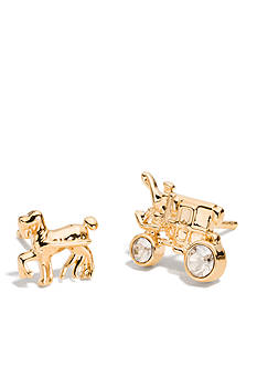 COACH PAVE HORSE AND CARRIAGE STUD EARRINGS
