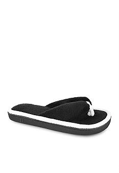 Isotoner Cabanas Microterry Black Trimmed Thong Slipper