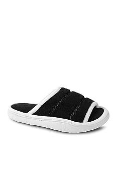 Isotoner Cabanas Microterry Black Trimmed Slipper