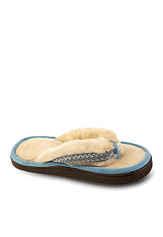 Isotoner Woodlands Faux Fur Chukka Thong Slipper