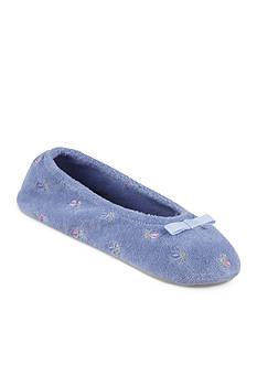 Isotoner Signature Classics Terry Floral Embroidered Ballerina Slipper