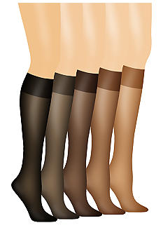Hanes Silk Reflections No Slip Band Knee High Two Pack