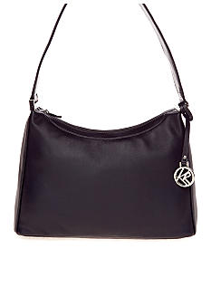 Kim Rogers® Top Zip Leather Hobo Bag