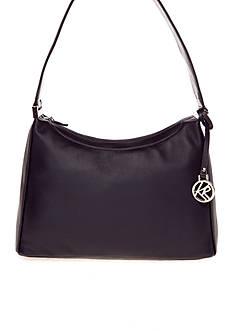 Kim Rogers® Top Zip Leather Hobo Bag