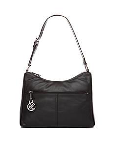 Kim Rogers Double Zip Leather Shoulder Bag