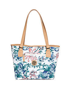 Kim Rogers Tropical Flower Canvas Tote