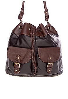Bueno Two-Tone Washed Drawstring Handbag