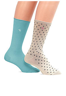 Lauren Ralph Lauren 2 Pack of Pindot Trouser Socks with LRL Embroidery