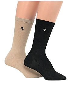Lauren Ralph Lauren Microfiber Trouser 2 Pack of Socks with LRL Embroidery