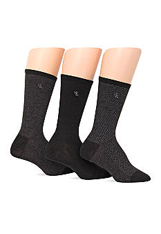 Lauren Ralph Lauren Tweed Cotton Trouser Socks 3 Pack with LRL Embroidery