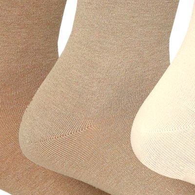 Womens Socks: Oatmeal Heather Assortment Polo Ralph Lauren Flat Knit Trouser Socks - 3 Pack