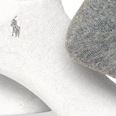 Womens Socks: Grey/White Polo Ralph Lauren Full Cushion Heel Tab Sport Socks - 3 Pack