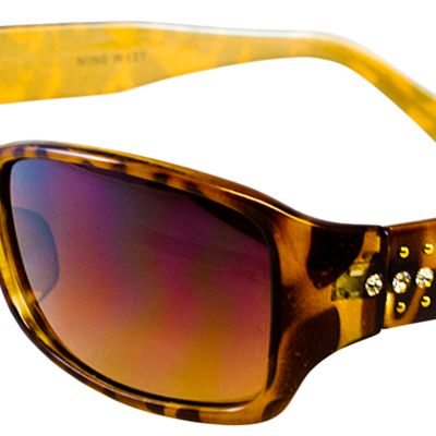 Women: Nine West Accessories: Tortoise Nine West Stones and Studs Plastic Rectangle Sunglasses