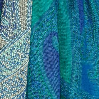 Silky Scarves: Peacock Turqoise New Directions Allover Paisley Scarf