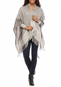 New Directions Woven Boucle Hooded Ruana