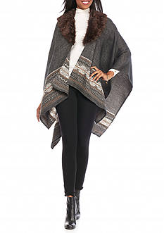 New Directions Ruana with Faux Fur Collar