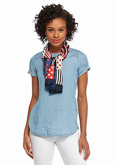 Kim Rogers Patchwork Stars and Stripes Scarf