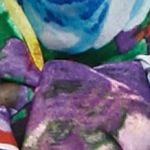 Women: Scarves & Wraps Sale: Purple/Teal Kim Rogers Romantic Rose Scarf