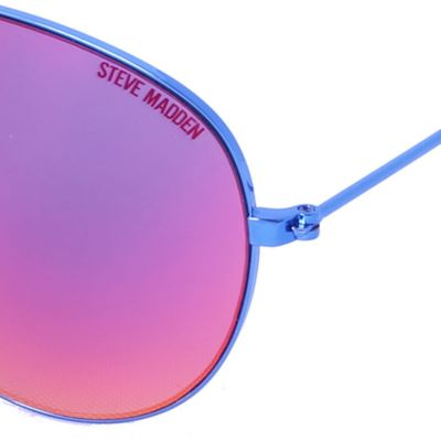 Women: Steve Madden Accessories: Blue/Navy Steve Madden Mirror Aviator Sunglasses