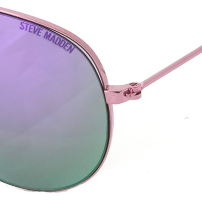 Women: Steve Madden Accessories: Rose Gold Steve Madden Mirror Aviator Sunglasses