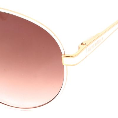 Women: Steve Madden Accessories: Rose Gold/ White Steve Madden Aviator Sunglasses