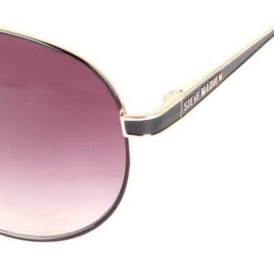 Womens Sunglasses: Gold/Black Steve Madden Aviator Sunglasses