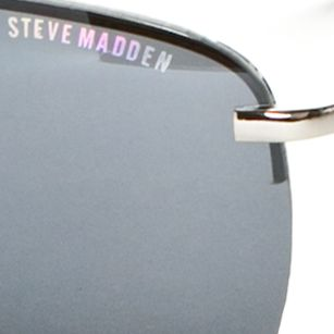 Mens Sunglasses: Silver Steve Madden Semi Rimless Aviator Sunglasses
