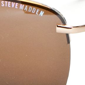Mens Sunglasses: Gold Steve Madden Semi Rimless Aviator Sunglasses