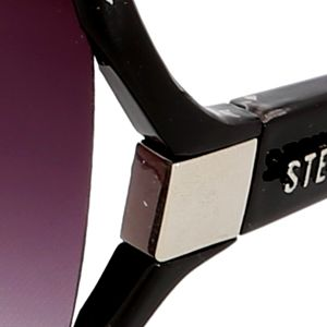 Fashion Sunglasses: Black/Tortise Steve Madden Open Vent Square Glam Sunglasses