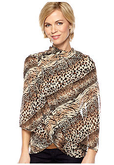 Cejon Mixed Animal Chiffon Scarf