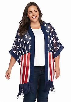 Cejon Flag Print Kimono