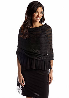 Cejon Diamond Pleated Lurex Wrap Scarf
