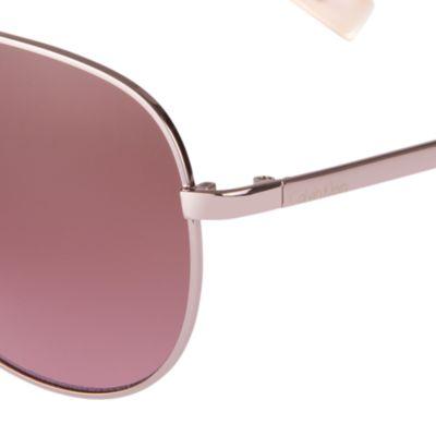Women: Calvin Klein Accessories: Rose Gold Calvin Klein Aviator Sunglasses