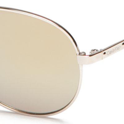 Calvin Klein Sunglasses: Gold Calvin Klein Metal Aviator With Logo
