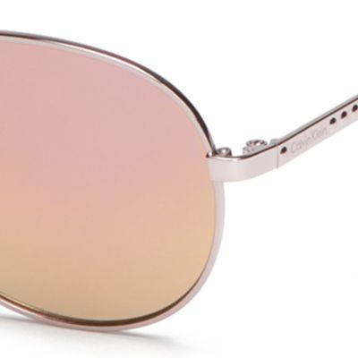 Calvin Klein Sunglasses: Rose Gold Calvin Klein Metal Aviator With Logo