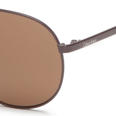 Calvin Klein Sunglasses: Brown Calvin Klein Rounded Metal Aviator With Logo Sunglasses