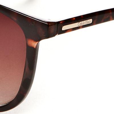 Women: Calvin Klein Accessories: Dark Tortoise Calvin Klein Surf Sunglasses