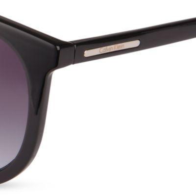 Women: Calvin Klein Accessories: Black Calvin Klein Round Surf Sunglasses