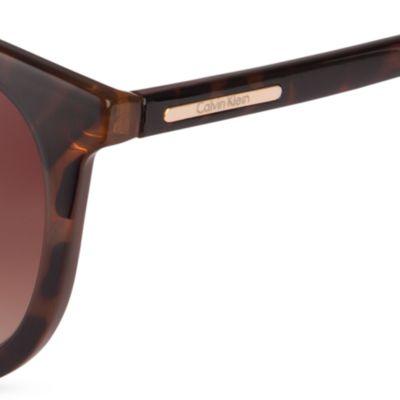 Women: Calvin Klein Accessories: Dark Tortoise Calvin Klein Round Surf Sunglasses