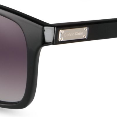 Women: Calvin Klein Accessories: Black Calvin Klein Rectangle Sunglasses