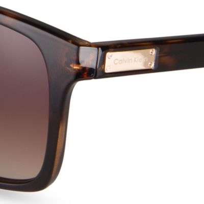 Womens Sunglasses: Dark Tortoise Calvin Klein Rectangle Sunglasses