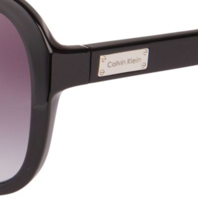 Womens Sunglasses: Black Calvin Klein Rounded Rectangle Sunglasses