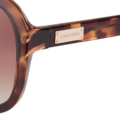 Womens Sunglasses: Dark Tortoise Calvin Klein Rounded Rectangle Sunglasses