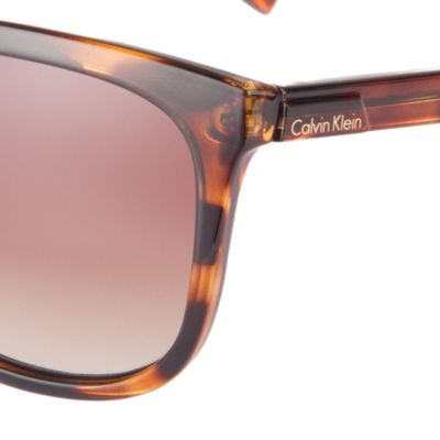 Women: Calvin Klein Accessories: Dark Tortoise Calvin Klein Oversized Surf Sunglasses