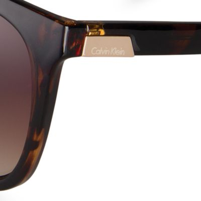 Fashion Sunglasses: Dark Tortoise Calvin Klein Oversized Rectangle Sunglasses